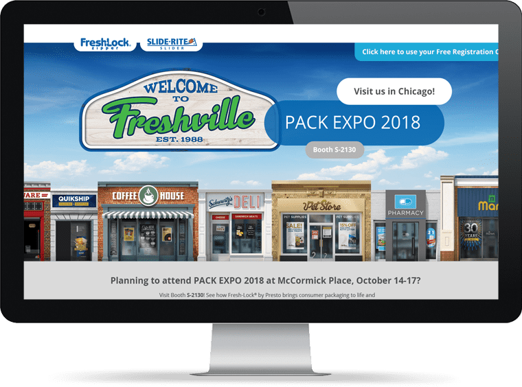 Element example of website for Fresh-Lock, PACK EXPO 2018 landing page
