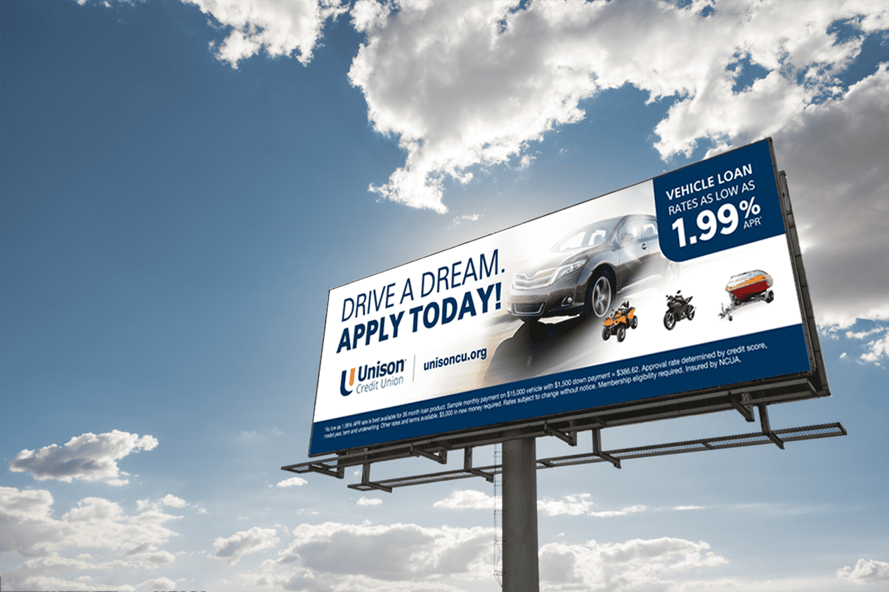 Element example of a billboard - Unison Credit Union