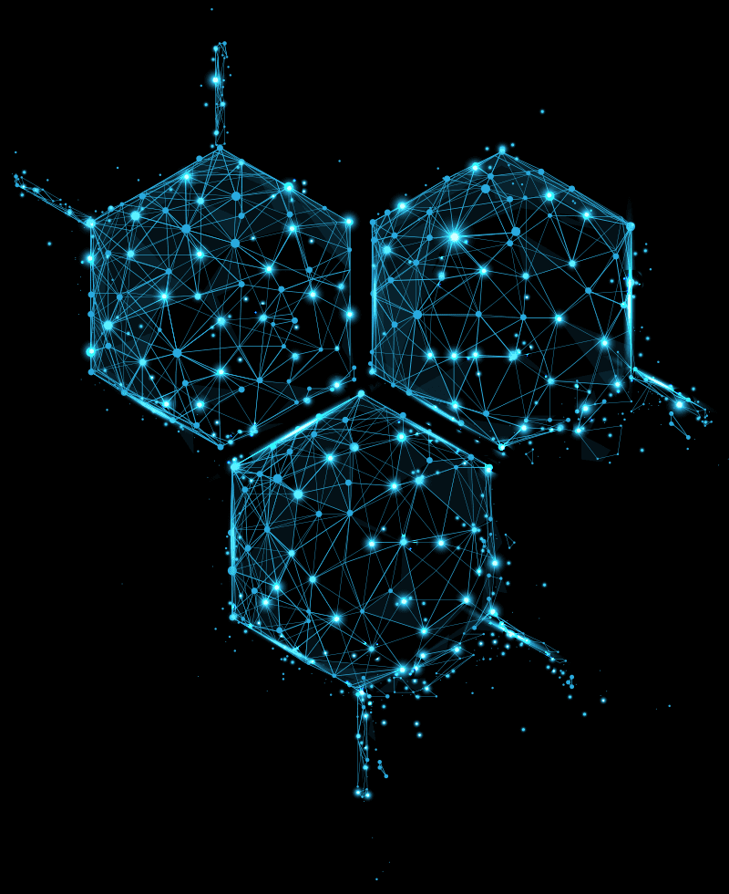 blue hexagon art on a black background